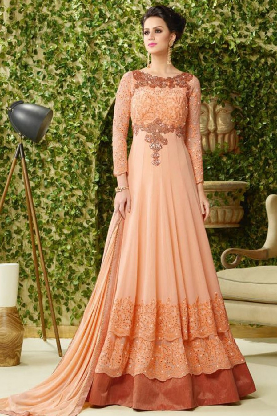 58fa3556d5 Buy Long Floor Touch Layered Partywear Designer Anarkali Suit in Georgette  Fabric with Heavy Embroidery and