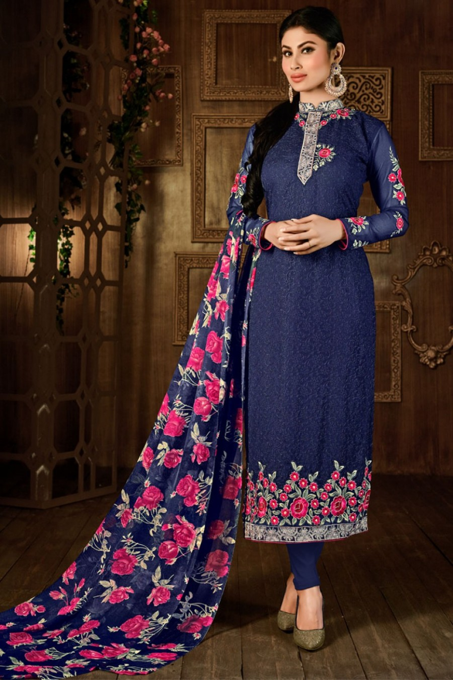 Buy Mauni Roy Blue Flower Embroidered Party Wear Straight Suit in Georgette Fabric Online