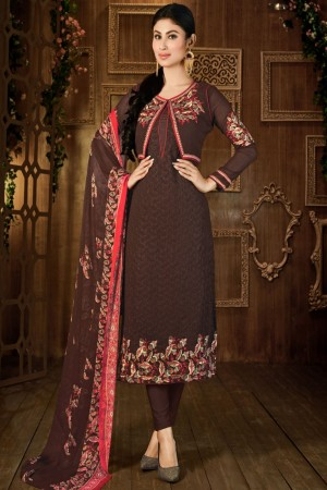 Buy Mauni Roy Floral Embroidered Coffee Colour Party Wear Straight Cut Georgette Suit Online
