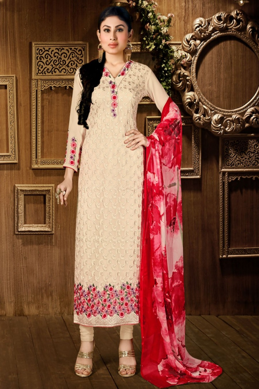 Buy Beige and Red Georgette Embroidered Straight Cut Salwar Suit Starring Mauni Roy Online