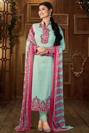 Buy Mauni Roy in Straight Cut Party Wear Georgette Suit in Light Blue and Pink Colour Online