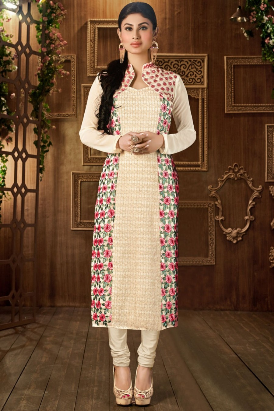 Buy Mauni Roy Cream Flower Embroidered Party Wear Straight Suit in Georgette Fabric Online