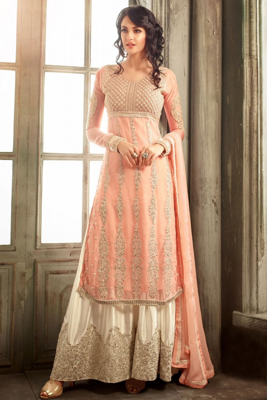 9a6d5ded31 Buy Peach and Cream Party Wear Palazzo Style Straight Chiffon Suit Online