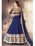 Blue And Gold Embroidered Floor Length Anarkali Suit
