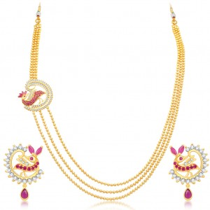 Buy Sukkhi Divine 3 String Peacock Gold Plated CZ Necklace Set For Women Online
