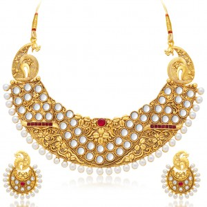 Buy Sukkhi Sparkling Peacock Gold Plated Necklace Set For Women Online