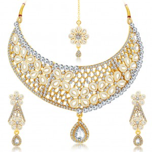 Buy Sukkhi Youthful Gold Plated AD Necklace Set For Women Online