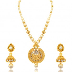 Buy Sukkhi Exquisite Jalebi Gold Plated AD Necklace Set For Women Online