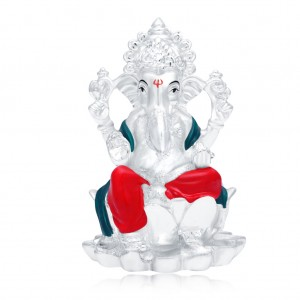 Buy Sukkhi Beguiling Hand Painted Rhodium Plated Lord Ganesha Spiritual Idol Online