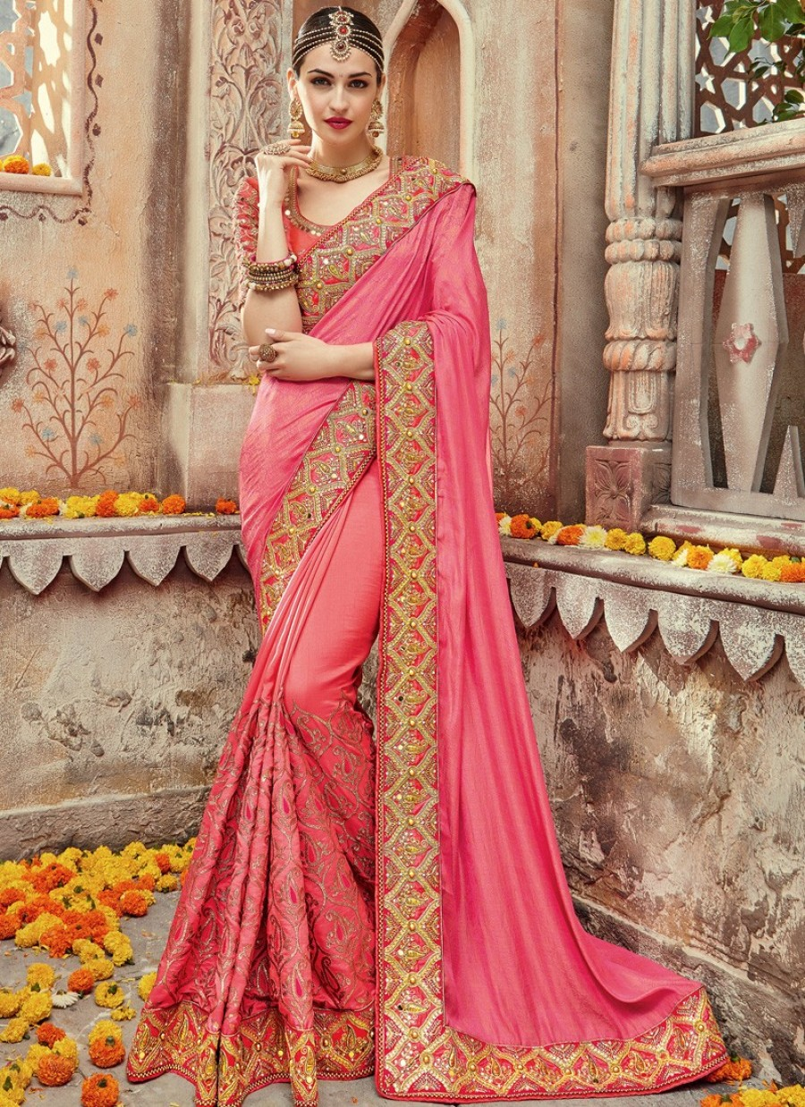 c3c667a03d Purchase Online  Pink and Gold Embroidered Saree   550674