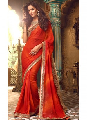 Buy Shaded Red Embroidered Georgette Saree Online