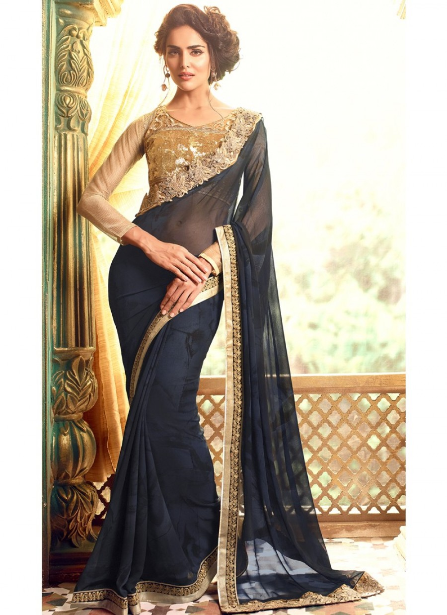 3ddeafa56f Dark Navy Blue Embroidered Georgette Saree|Online Shopping | 550687