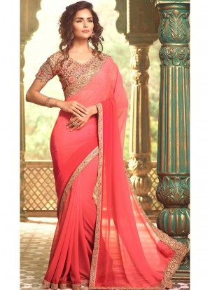 Buy Light Pink and Rose Ombre Georgette Saree Online