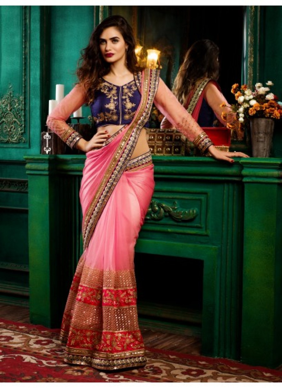 393ae50dae91a5 Buy Pink and Silver Party Wear Net Saree Online
