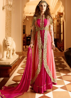 Buy Hot Pink and Gold Embroidered Anarkali Online