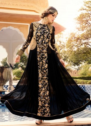 Buy Black and Gold Embroidered Anarkali Online