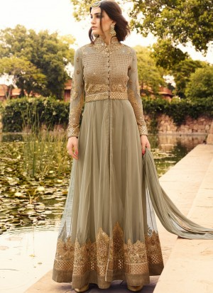 Buy Grey and Gold Embroidered Anarkali Online