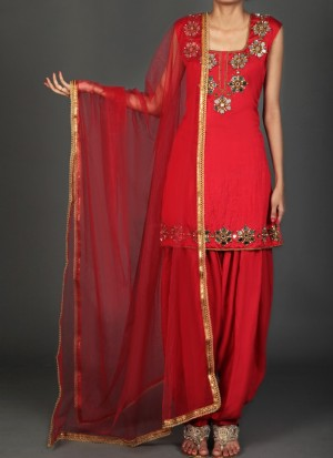 Buy Red and Gold Mirror Work Punjabi Suit Online