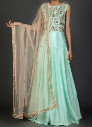 Buy Light Mint and Nude Embroidered Anarkali Online