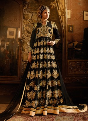 Buy Black High Low Trail Embroidered Anarkali Online