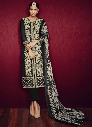 Buy Black and Cream Embroidered Straight Cut Churidar Online