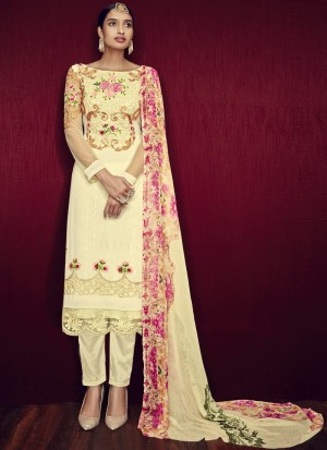 Buy Light Yellow and Pink Straight Cut Churidar Online