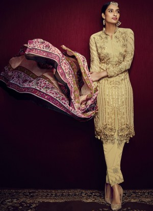 Buy Light Golden Taupe and Purple Straight Cut Churidar Online