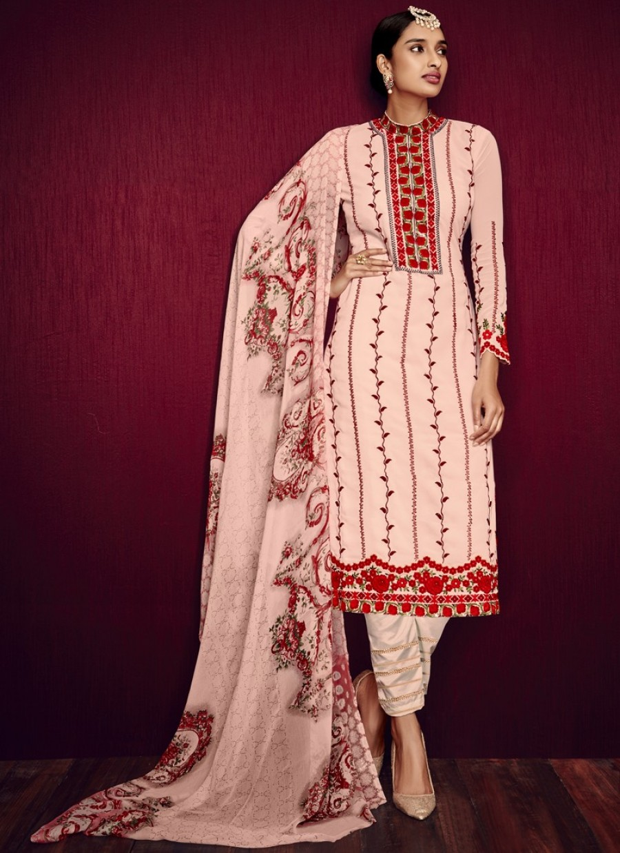 Buy Light Pink and Red Straight Cut Churidar Online