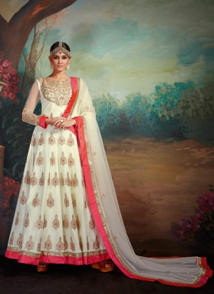 Buy Ivory White and Pink Net Embroidered Anarkali Online