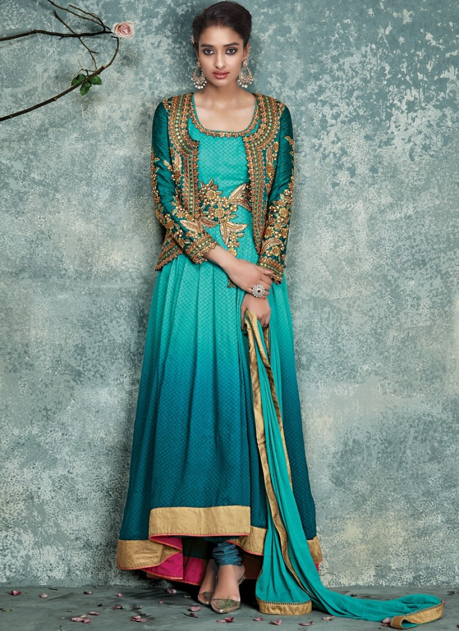 Buy Shaded Teal and Turquoise High and Low Jacket Style Anarkali Online