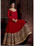 Deep Red Pure Georgette Embroidered Anarkali