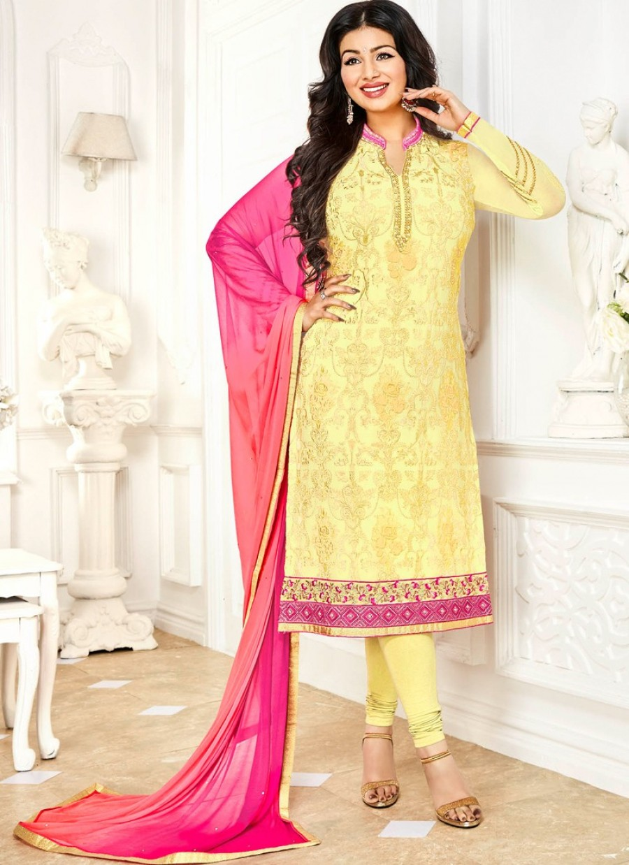 8db1880ac4 Ayesha Takia Yellow and Pink Georgette Churidar|Online Shopping | 550907