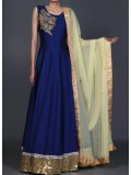 Deep Blue and Gold Anarkali