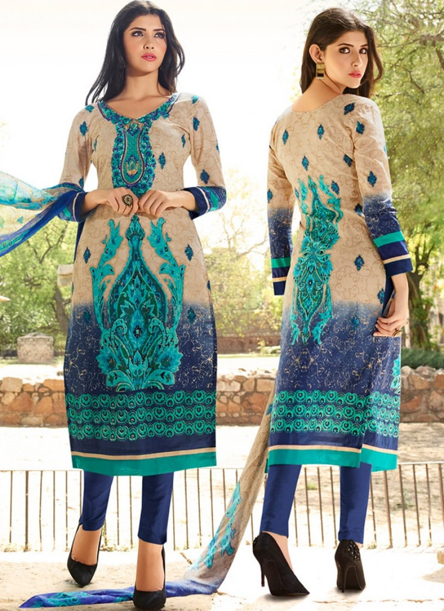 Buy Beige and Blue Shaded Lawn Cotton Straight Pant Suit Online