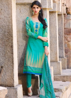 Buy Turquoise Printed Lawn Cotton Straight Pant Suit Online