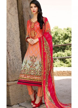 Buy Shaded Peach and Pink Lawn Cotton Straight Pant Suit Online
