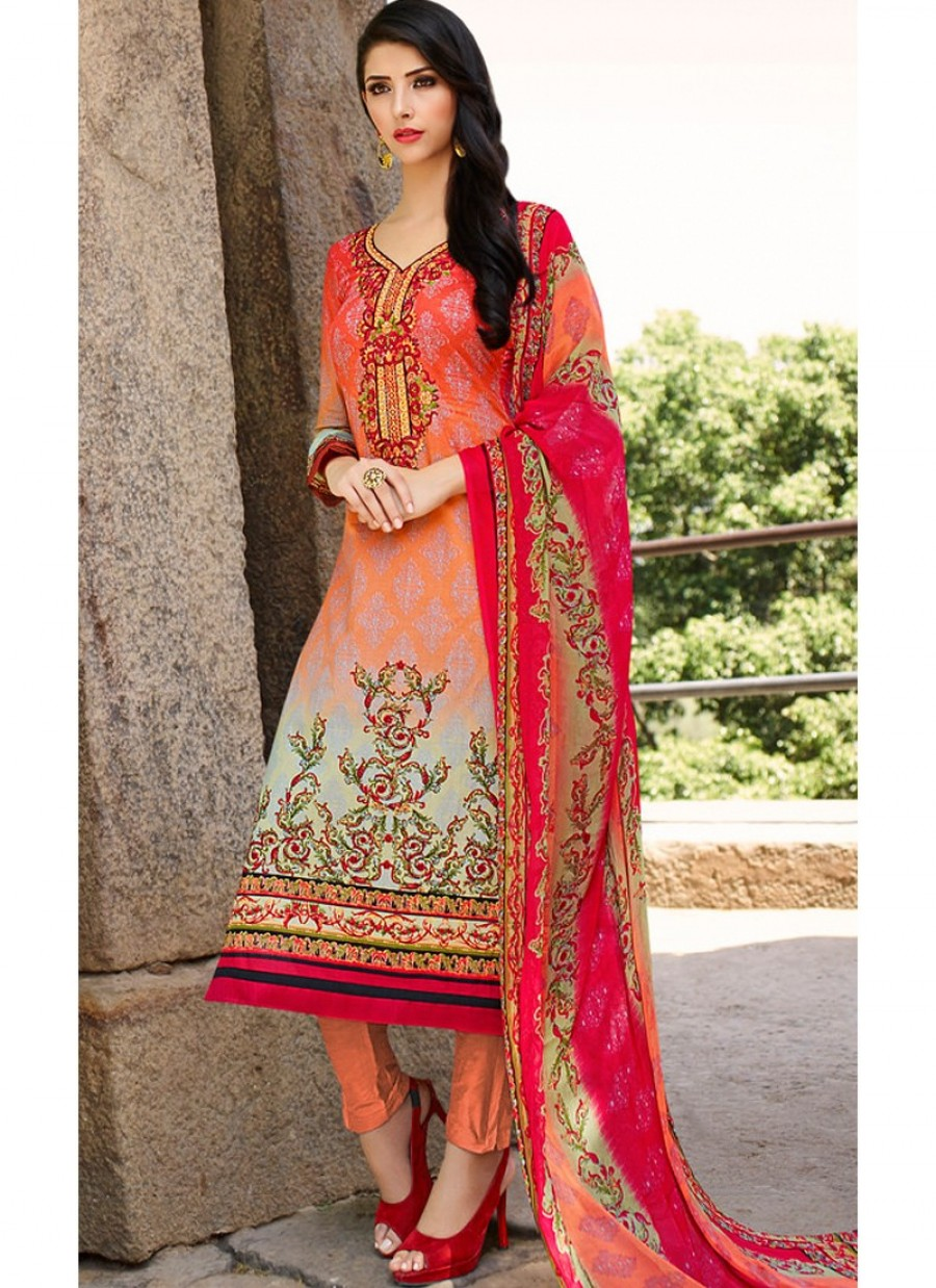 06bbf3dd3f Shaded Peach and Pink Lawn Cotton Straight Pant Suit|Best Price | 550946