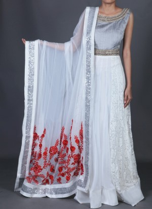 Buy Grey and White Embroidered Anarkali Online