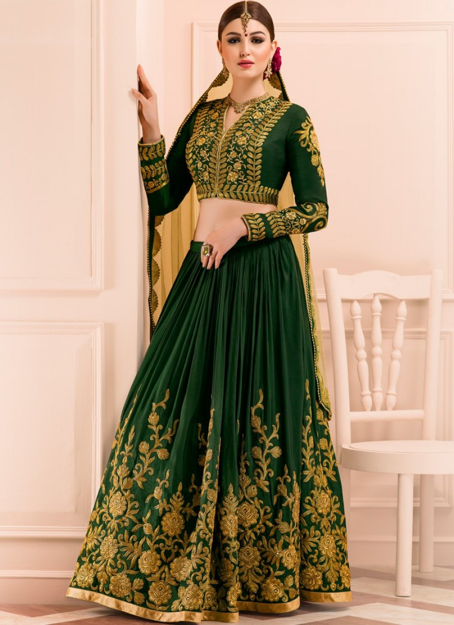 f065ae0a37 Buy Online Emerald Green and Gold Embroidered Lehenga   551110