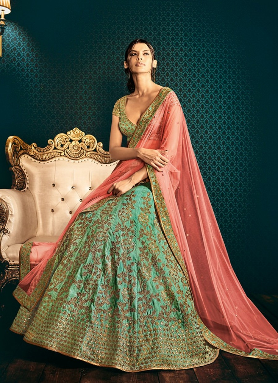 b6af570925 Buy Sea Green and Peach Embroidered Lehenga Online