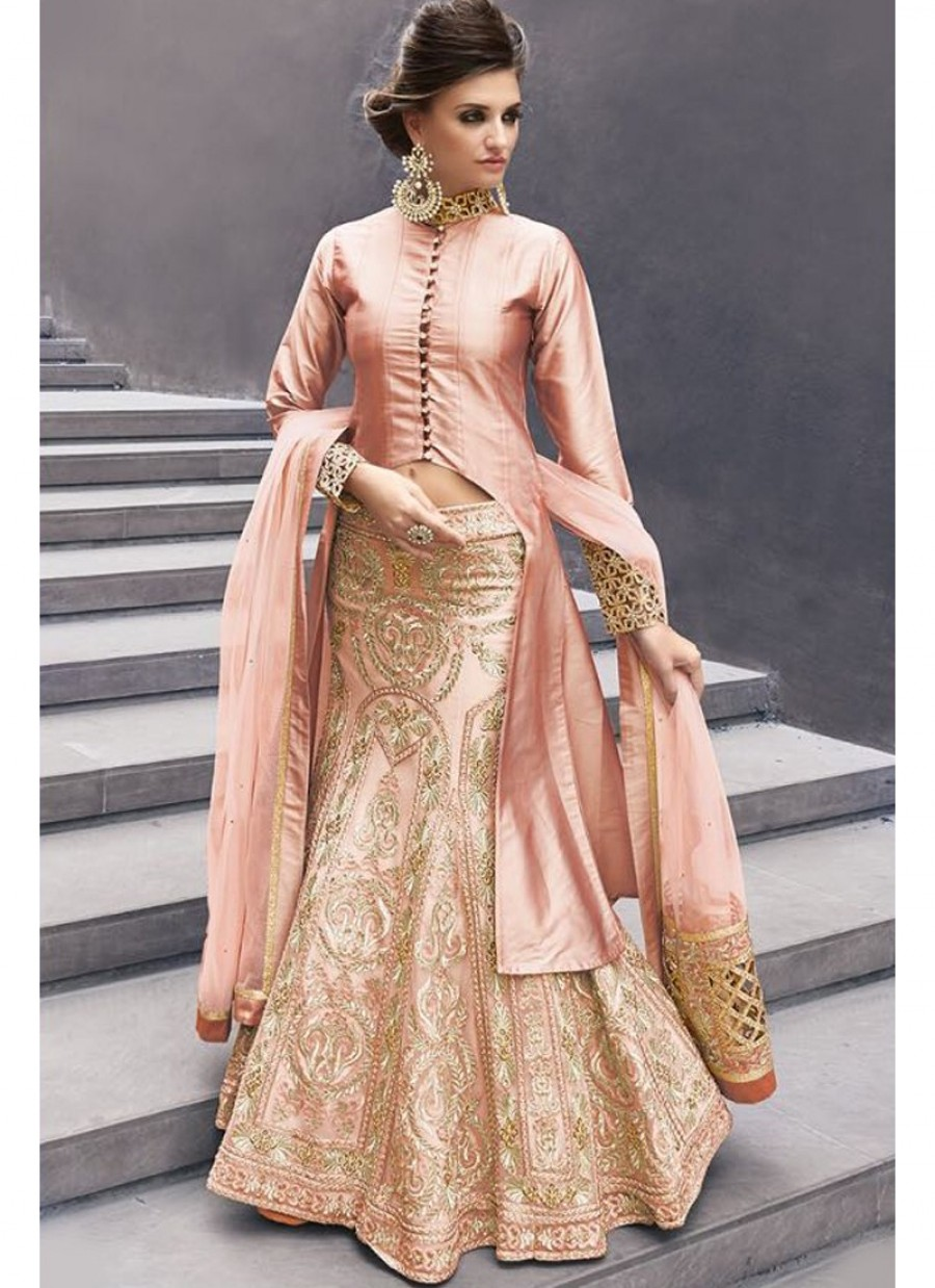 d1d9526bdfd03d Purchase Online |Elegant Blush Jacket Style Long Embroidered Lehenga ...