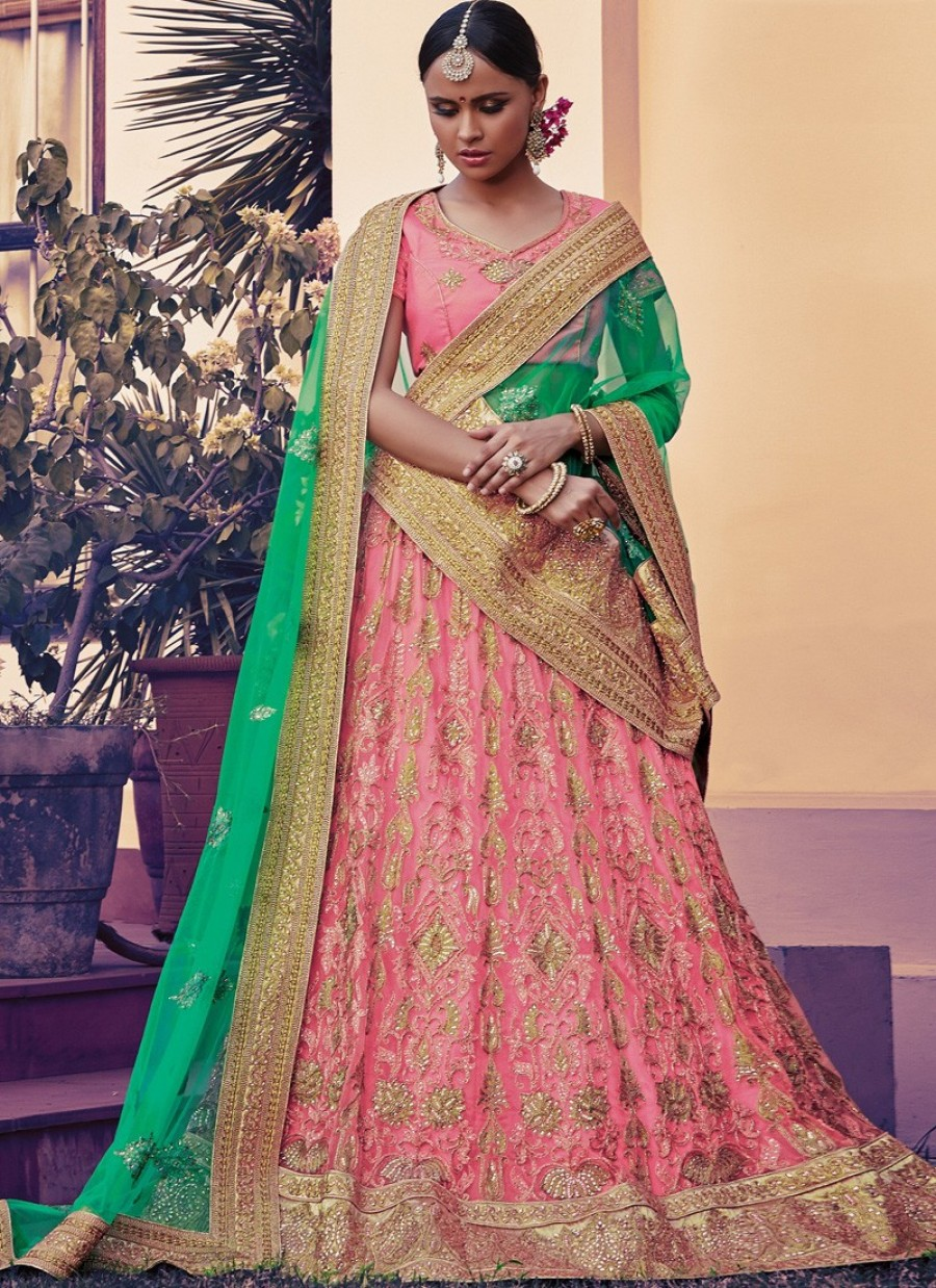 Shop For Pink And Green Net Embroidered Lehenga Choli 551255