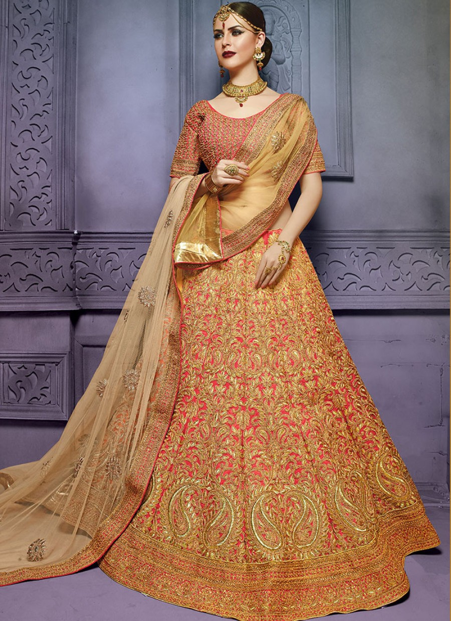 2acc9bd42e Buy RED EMBROIDERED ART SILK BRIDAL LEHENGA CHOLI Online