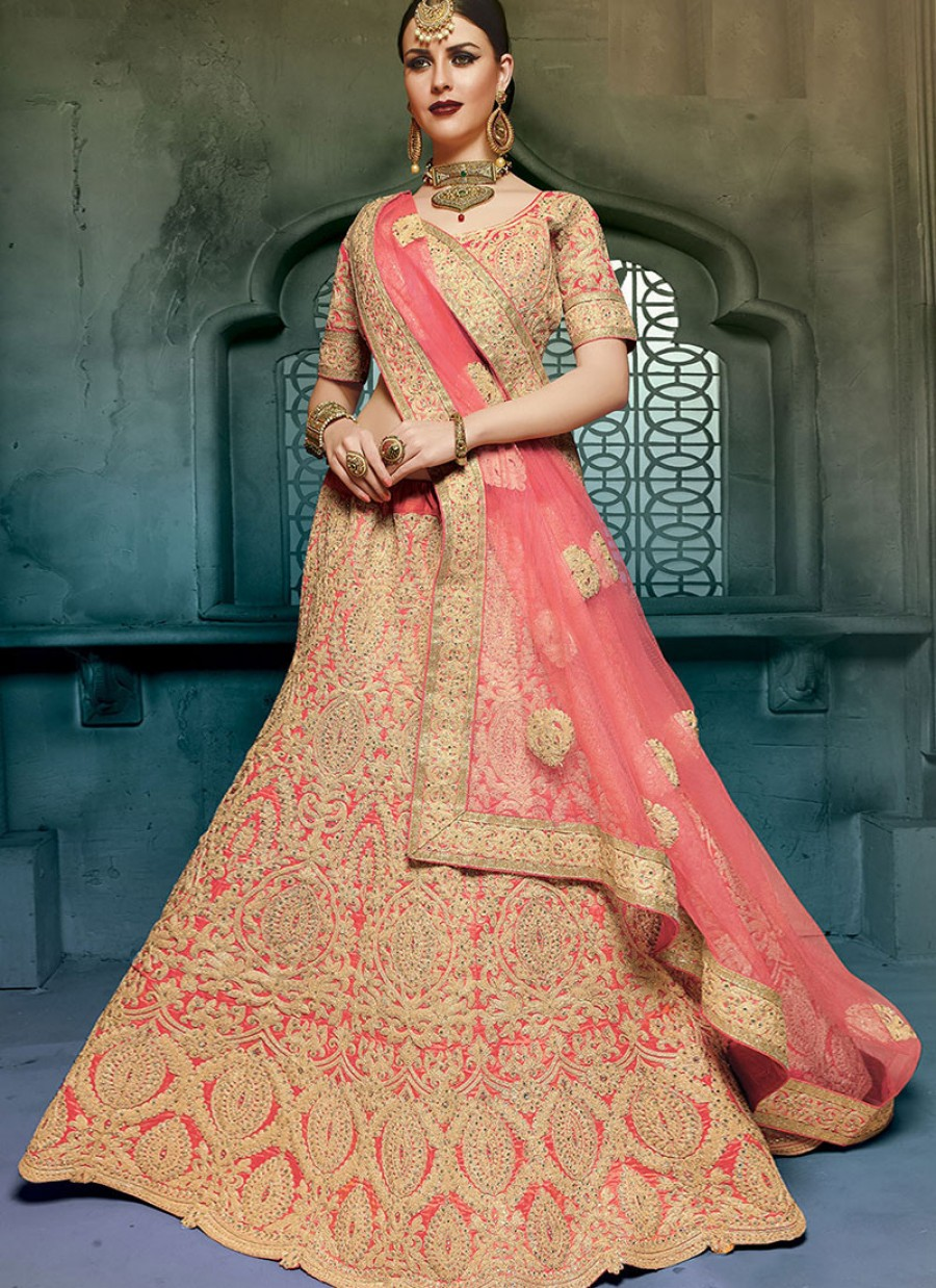 0371ec781f PINK EMBROIDERED ART SILK BRIDAL LEHENGA CHOLI|Best Price | 551266