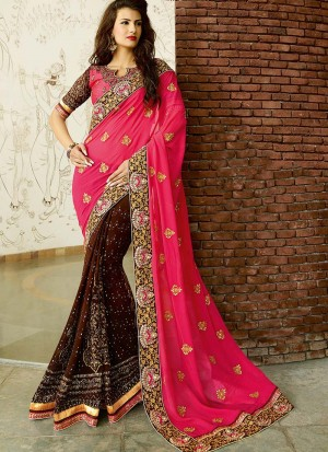 Buy PINK AND BROWN FAUX GEORGETTE SAREE Online