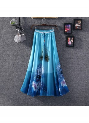Buy Ladies Flavour Presents Printed Sky Blue Skirt Online