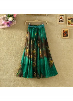 Buy Ladies Flavour Presents Printed Green Skirt Online