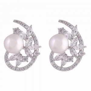 Buy Rhodium Plated Pearl Cocoon Earrings Online