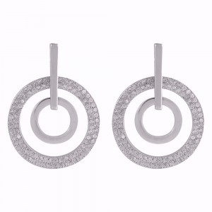 Buy Rhodium Plated Two Circle Earrings Online