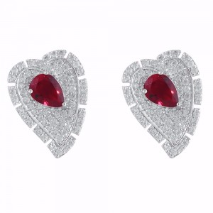 Buy Rhodium Plated Red Heart Earrings Online